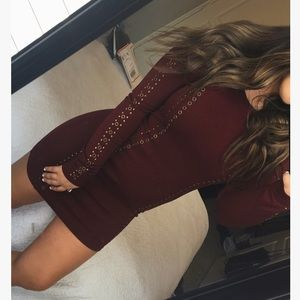 Maroon studded dress